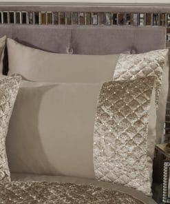 Quilted Sequin Velvet Duvet Set in Mink