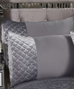 Quilted Sequin Velvet Duvet Set in Silver