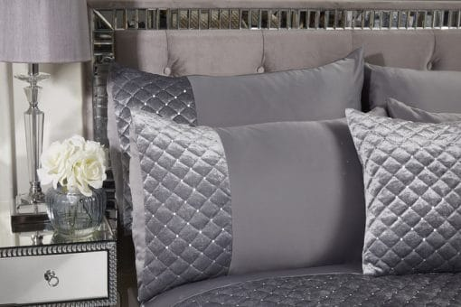 Quilted Sequin Velvet Duvet Set in Silver