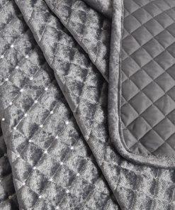 Quilted Sequin Velvet Bedspread in Silver