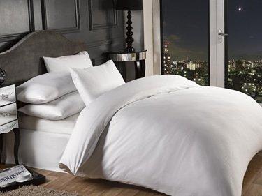 1000 Thread Count Pin Stripe Pillowcase (Pair) in White