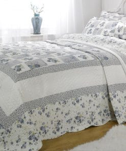 Quilted Cotton Patchwork Bedspread Set in Blue