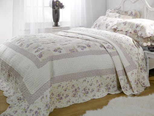 Quilted Cotton Patchwork Bedspread Set in Lilac
