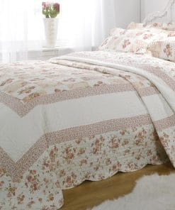 Quilted Cotton Patchwork Bedspread Set in Pink