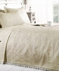 Cotton Rich Jacquard Bedspread in Cream