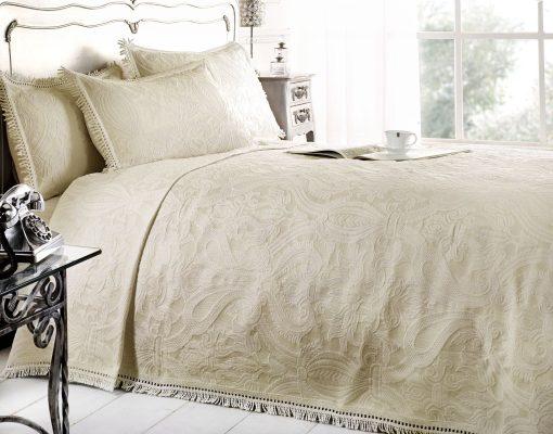 Cotton Rich Jacquard Bedspread in Cream