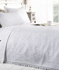 Cotton Rich Jacquard Bedspread in White