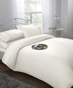 Sateen stripe duvet set in cream
