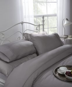 Sateen stripe duvet set in grey
