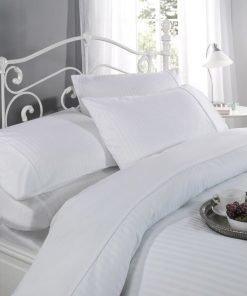 Satin Stripe Bed Linen White