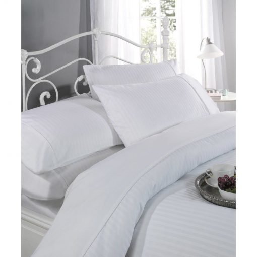 Satin Stripe Bed Linen White