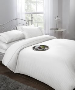 White Sateen Stripe Duvet Set