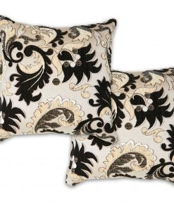 Baroque Style Jacquard Cushion Cover in Black