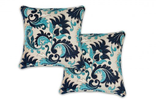 Baroque Style Jacquard Cushion Cover in Navy