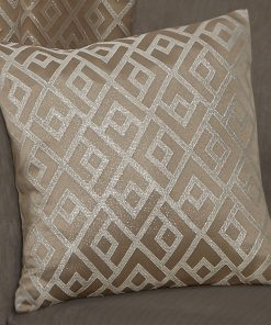 Geometric Metallic Jaquard Cushion Cover in Taupe