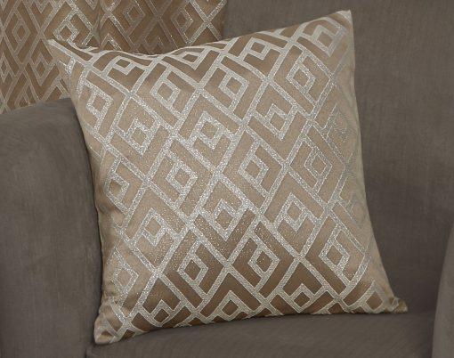 Geometric Metallic Jaquard Cushion Cover in Taupe