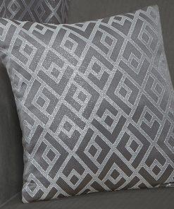 Geometric Metallic Jaquard Cushion Cover in Silver