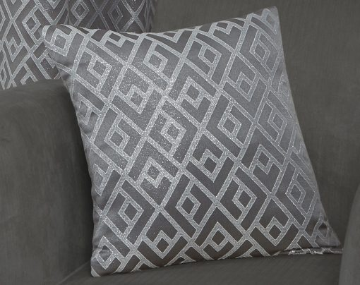 Geometric Metallic Jaquard Cushion Cover in Silver
