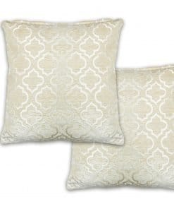 Geometric Satin Chenille Cushion Cover in Cream