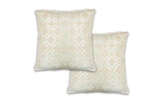 Geometric Satin Chenille Cushion Cover in Cream