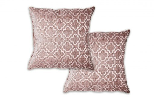 Geometric Satin Chenille Cushion Cover in Pink