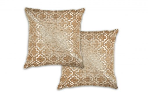 Geometric Satin Chenille Cushion Cover in Gold