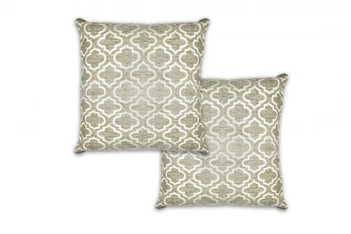 Geometric Satin Chenille Cushion Cover in Silver