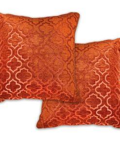 Geometric Satin Chenille Cushion Cover in Terracotta