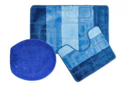 Tonal Stripe Jaquard 3pc Bathset in Blue