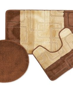 Tonal Stripe Jaquard 3pc Bathset in Chocolate