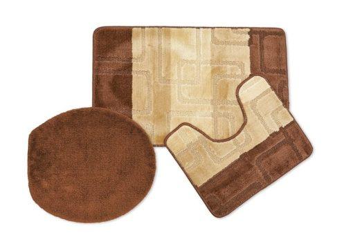 Tonal Stripe Jaquard 3pc Bathset in Chocolate