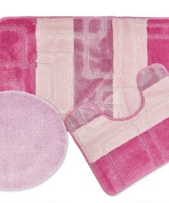 Tonal Stripe Jaquard 3pc Bathset in Pink