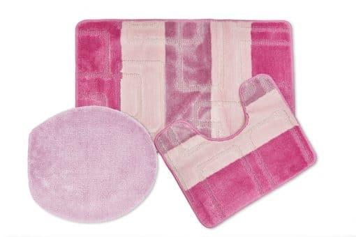 Tonal Stripe Jaquard 3pc Bathset in Pink