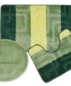 Tonal Stripe Jaquard 3pc Bathset in Green