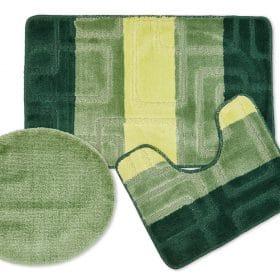 Tonal Stripe Jaquard 3pc Bathset in Green