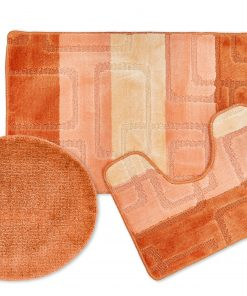 Tonal Stripe Jaquard 3pc Bathset in Orange