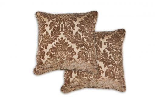 Luxury Chenille Jaquard Cushion Cover in Chocolate