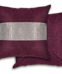 Sequined Velvet Cushion Cover in Aubergine