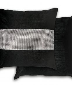 Sequined Velvet Cushion Cover in Black