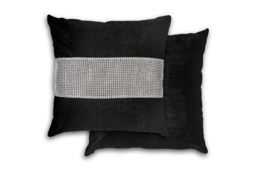 Sequined Velvet Cushion Cover in Black