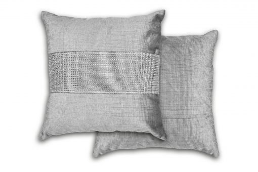 Sequined Velvet Cushion Cover in Silver