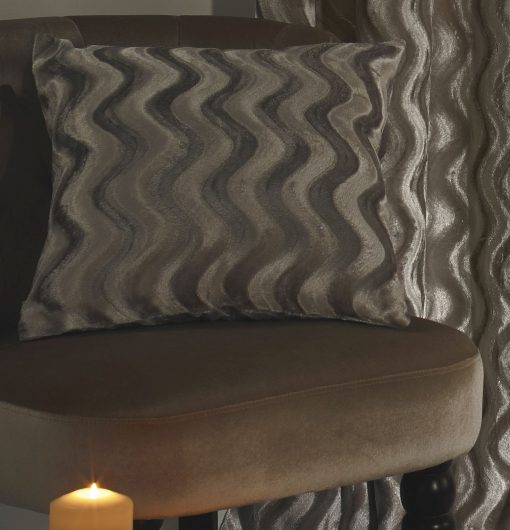 Embossed Velvet Cushion Cover in Taupe