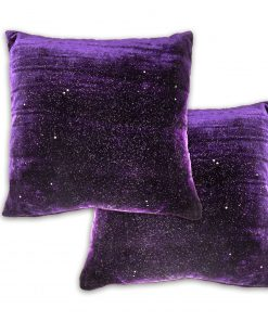 Sequined Velvet Cusion Cover in Aubergine