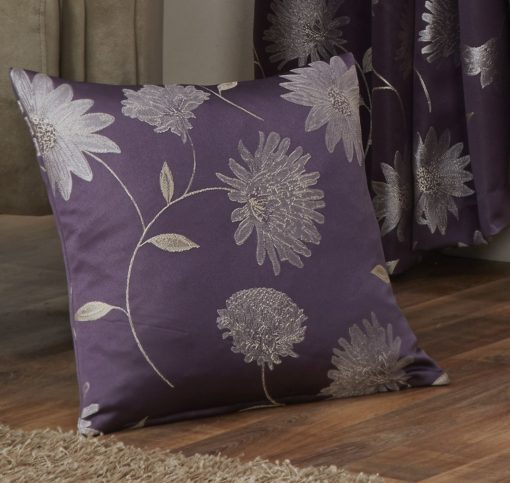 Floral Jaquard Cushion Cover in Aubergine