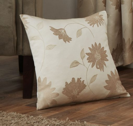 Floral Jaquard Cushion Cover in Cream
