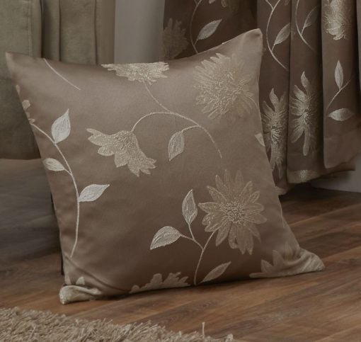 Floral Jaquard Cushion Cover in Latte