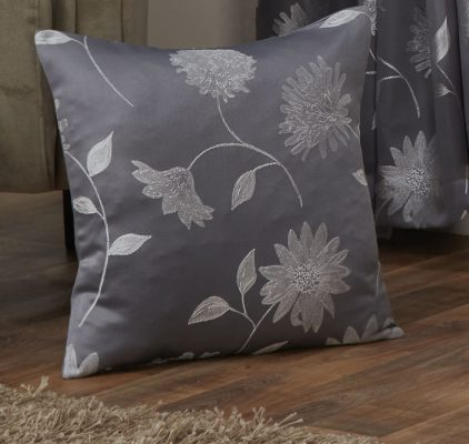 Floral Jaquard Cushion Cover in Silver