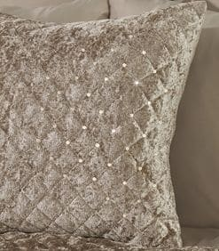Quilted Sequin Velvet Cushion Cover in Mink