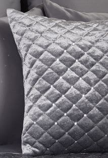 Quilted Sequin Velvet Cushion Cover in Silver