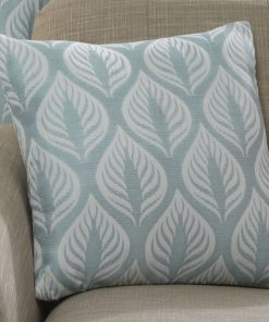 Leaf Design Cushion Cover in Duck Egg